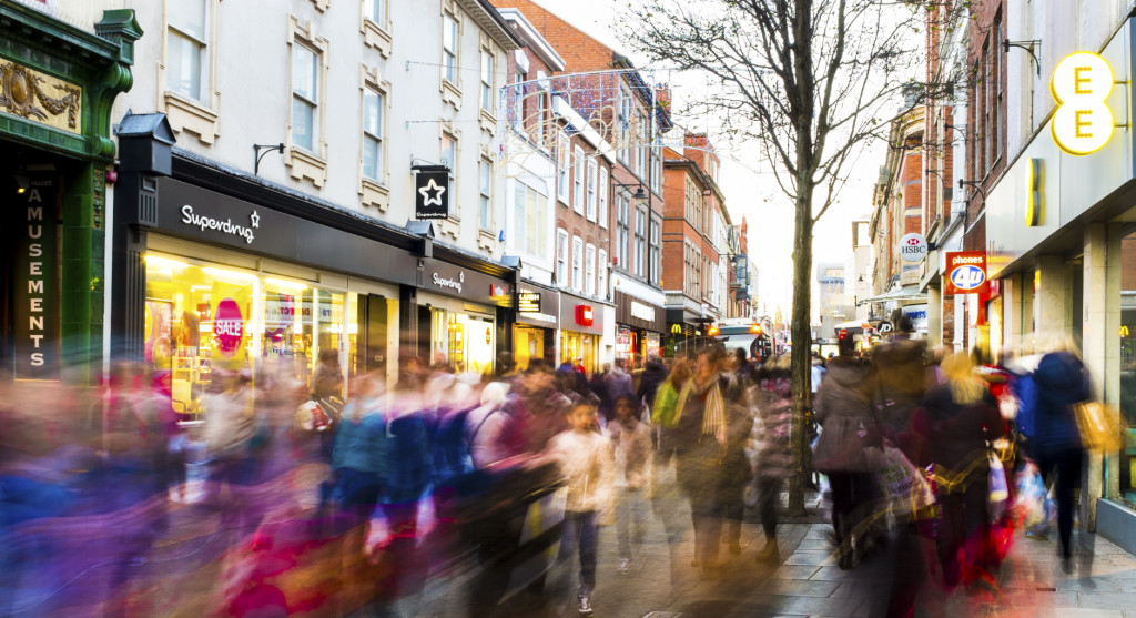 Shoppers hurry along in the January sales, 2014, Nottingham
