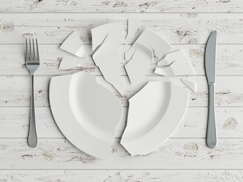 Broken Plate and Cutlery