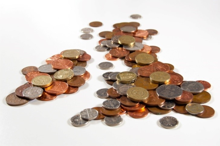 pound coins in the shape of UK
